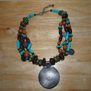 Faux Stone Boho~Tribal Coin Statement Necklace
